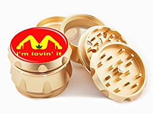 "I'm Lovin' It Design Premium Grade Aluminum Tobacco,Herb Grinder -4Pcs Large (2.5"" Gold) # GLD-G50-7915-6"