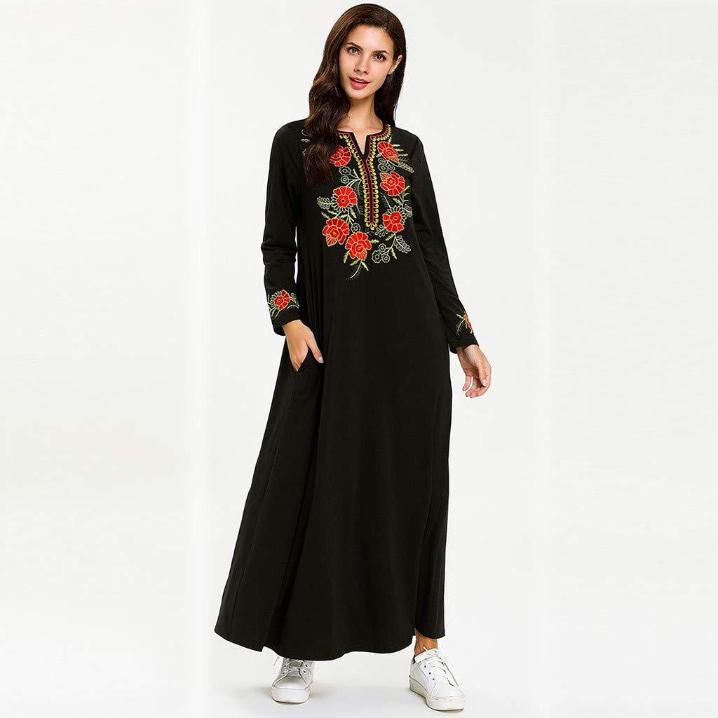 a5c81d0279db7 DKmagic Islamic Long Muslim Dress,Long Sleeve Arab Abaya Turkish ...