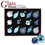 Valery Madelyn 14ct 70-107mm Winter Wishes Blue Silver Glass Christmas Ball Ornaments Decoration, 7-10.7cm/2.75-4.21inch ,14 Pcs Metal Hooks Included