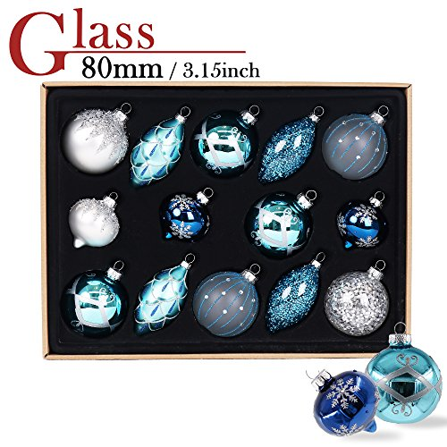 Glass Balls Christmas Ornaments - Valery Madelyn 14ct 70-107mm Winter Wishes Blue Silver Glass Christmas Ball Ornaments Decoration, 7-10.7cm/2.75-4.21inch ,14 Pcs Metal Hooks Included