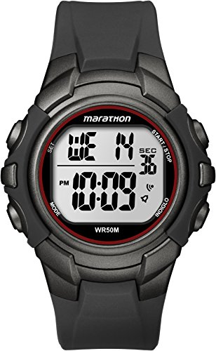 Marathon by Timex Men's T5K642 Digital Full-Size Gunmetal Gray/Red Resin Strap Watch