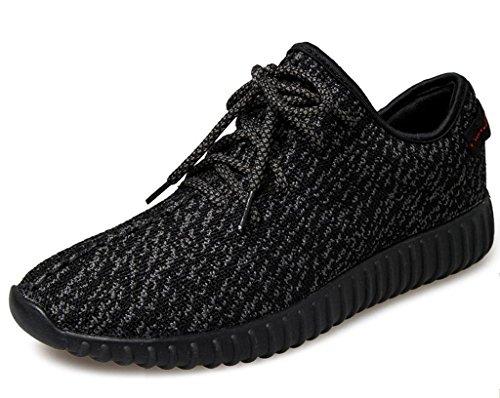 EasyChicShop Men Women Casual Breathable Mesh Sneakers Light Weight Athletic Walking Running Shoes (Men 12 / EU50, Black)