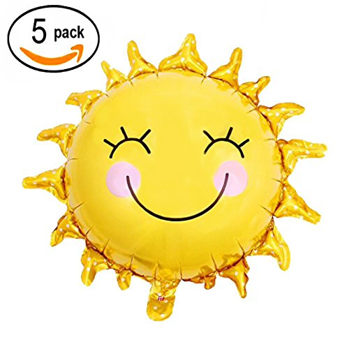 28 Inch Shiny Gold Sun Smiley Face Foil Mylar Balloons Sunshine Helium Balloons Sunny Wedding Favors Summer Theme Party Decorations, 5 PC Sun Foil