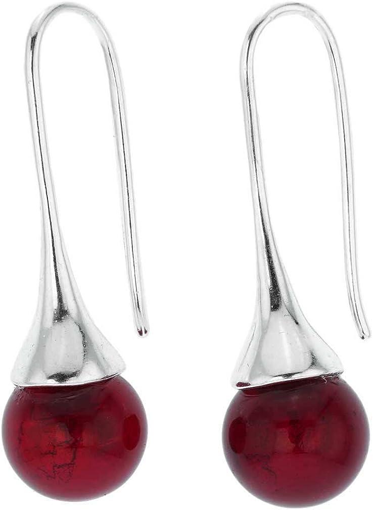 GlassOfVenice - Pendientes de cristal de Murano, color rojo rubí