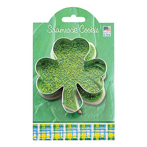 Shamrock Cookie and Fondant Cutter - Ann Clark - 4.6 Inches - US Tin Plated - St Patty Cookie Cutter