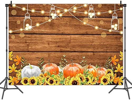 GoEoo 6x4ft Farm Pumpkin Sunflower Background Rustic Old Basket Photography Backdrop Countryside Wooden Board Rural Still Life Photo Studio Props Thanksgiving Holiday Party Decoration Vinyl Banner