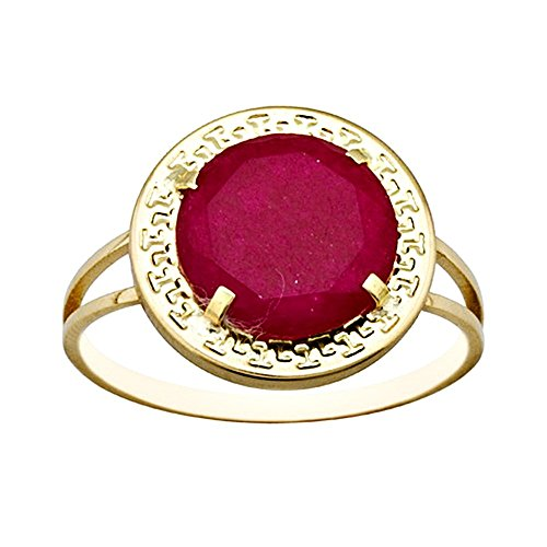 Bague 18k rond or 10mm. centre chantournage rubis [AA6826]