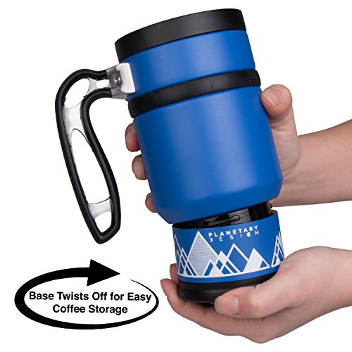 Double Shot 3.0 French Press Travel Coffee Mug, 16 oz - Brü-Stop Technology with Storage Base and Spill Proof Lid - Stainless Steel with Non-Slip Texture - Mountain Lake Blue
