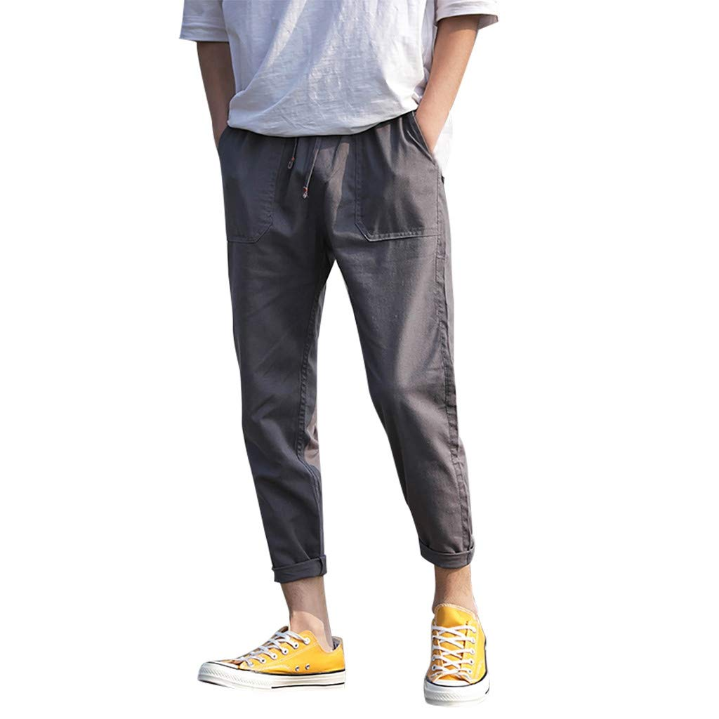 Xesvk Men Pants , Summer Korean Version of The Solid Color Loose Large Size Straight Trousers