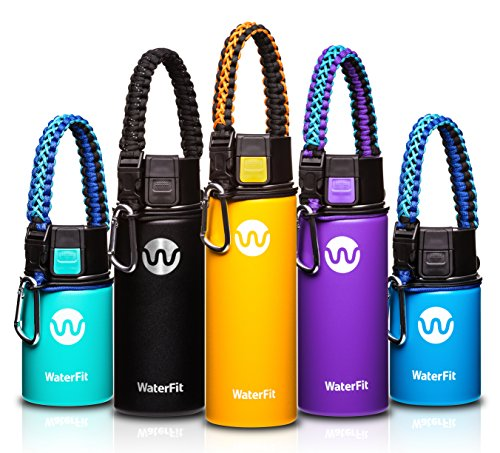 WaterFit Vacuum Insulated Water Bottle - Double Wall Stainless Steel Leak Proof BPA Free Sports Wide Mouth Water Bottle - Travel Coffee Mug - 12 oz, 16 oz or 20 oz - 5 colors with Paracord Handle