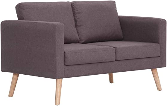Hellgrau Sofa Stoff Loungesofa 2-Sitzer Couch Sitzmöbel Stoffsofa Couchgarnitur