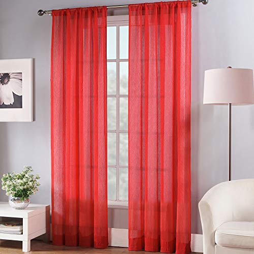 Fiesta Solid Color Sheer Window Curtain Panel, 50 x 84, Scarlet Red