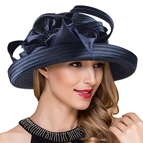 Lady Church Derby Dress Cloche Hat Fascinator Floral Tea Party Wedding Bucket Hat S051 (S710-Navy)