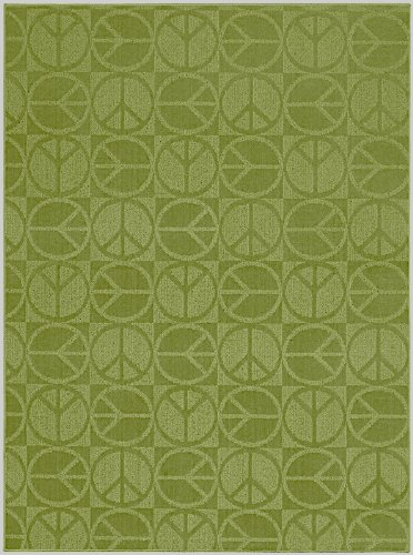 Garland Rug Large Peace Area Rug, 7-Feet 6-Inch by 9-Feet 6-Inch, Lime