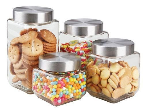 (Home Basics 4 Piece Square Glass Canisters with Stainless Steel Airtight Screw On Lid)