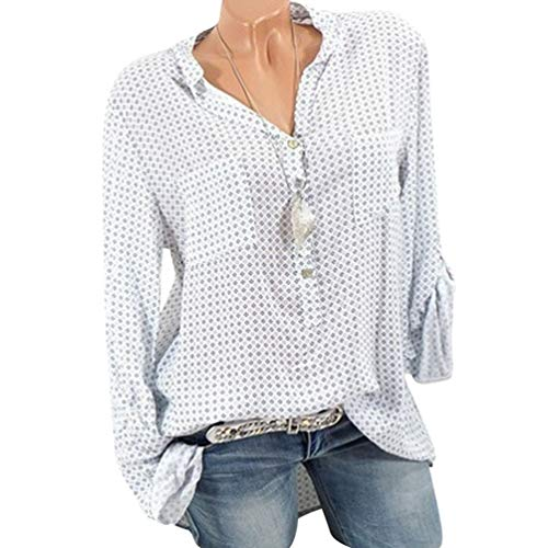 Bouton Size Femme 3 Chemisier Top 4 Manche V Xinwcang Longue Pullover Col Blouse Elegant Casual Plus Bleu fPdZwxqF