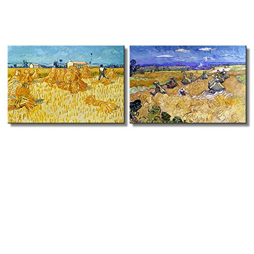 The Harvest Wheat Fields with Reaper Auvers by Vincent Van Gogh Oil Painting Reproduction in Set of 2 x 2 Panels