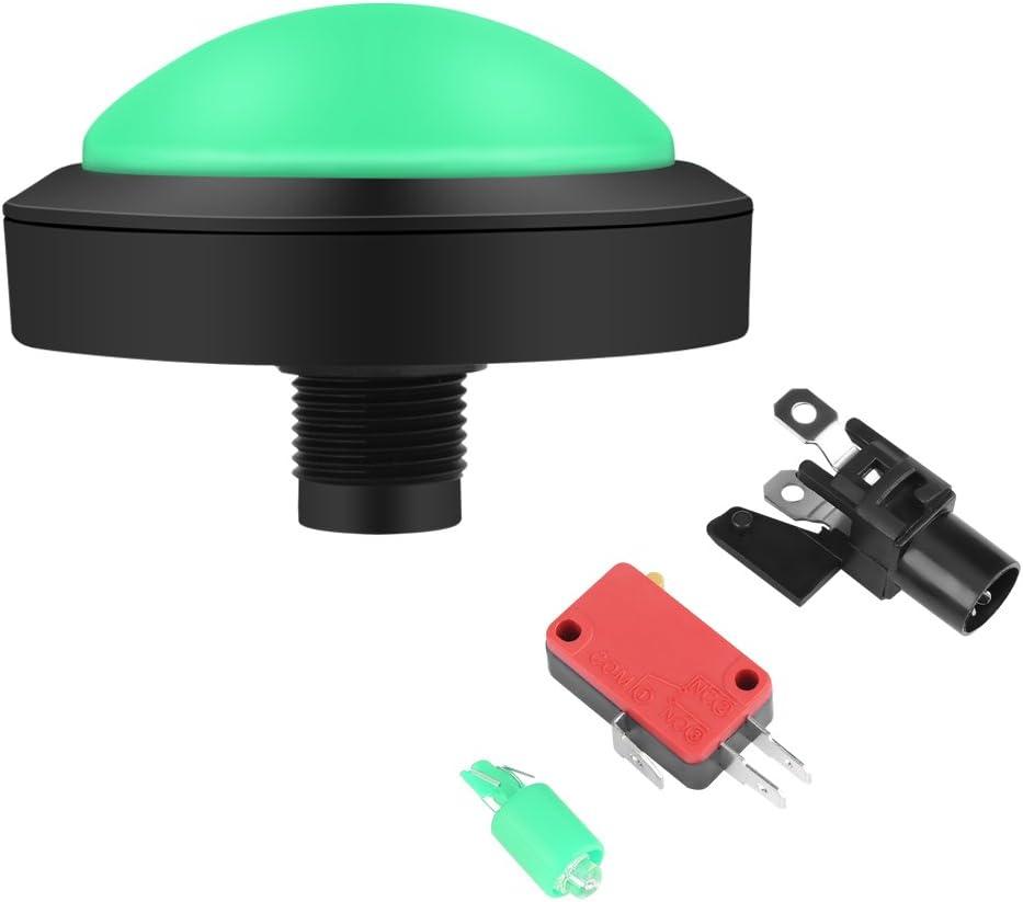 GLOGLOW Botón Arcade, 100 mm DIY Massive Arcade Game Button con LED Convexity Console Reemplazo Arcade Machine Video Games Parts(Verde)