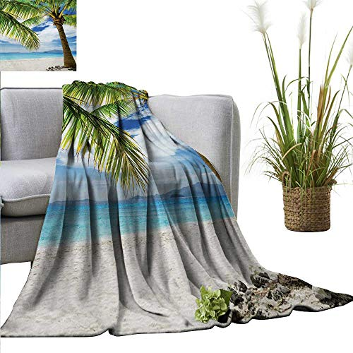 "AndyTours Flannel Throw Blanket,Lonely Palm Tree,Sandy Beach Isolated Philippines Hot Sunny Travel Destination,Green Coconut Blue,for Bed & Couch Sofa Easy Care 35""x60"""