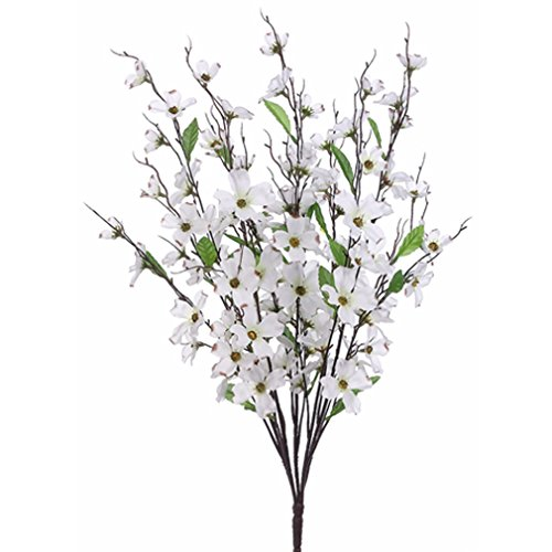 27'' Silk Dogwood Flower Bush -White (pack of 12) by SilksAreForever