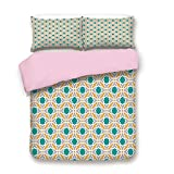 Difference Between California King and Eastern King Pink Duvet Cover Set,Queen Size,Geometric Pattern Eastern Religions Inspired Oriental Symmetric Design Print Decorative,Decorative 3 Piece Bedding Set with 2 Pillow Sham,Best Gift For Girls Women,Teal