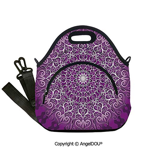 AngelDOU Purple Mandala waterproof neoprene lunch bags Round Stylized Tibetan Healing Cosmos Spiritual Yoga Growth Tattoo Image insulation cold portable outdoor picnic lunch box 12.6x12.6x6.3(inch) -