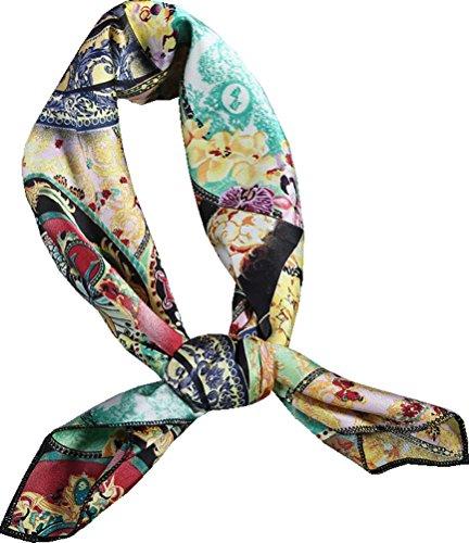 Searchself Silk Scarf Women's Fashion Pattern Large Square Satin Headscarf Headdress (flower (Square Neck Silk Dress)