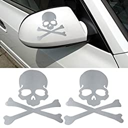 Welcomeuni DIY Car Sticker , Fashion Skull Design 3D Decoration Sticker For Car Side Mirror Rearview , White