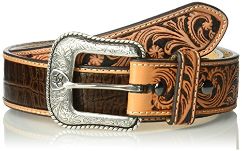 (Ariat Men's Tan Caiman Scroll Billet Belt, brown, 34)