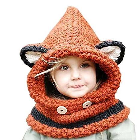 a7da968af931 Frbelle® Hiver Tricotés Bonnet Chapeaux Renard Unisexe Cagoules Enfant  Fille Garçon Bébé Pour Ski Vélo