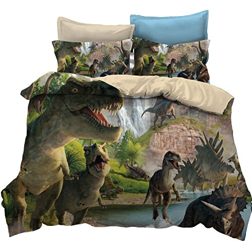 KTLRR Dinosaur Children's Bedding Set,Jurassic Age T-Rex Raptors Duvet Cover and Pillowcase Set,Kids Boys Bedroom Decoration Bed Set,Microfiber Fabric,No Comforter (Dinosaur, Queen 3pcs) ()