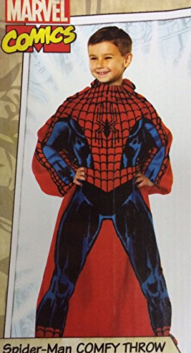 "Marvel Comics Spiderman Comfy Throw Blanket With Sleeves Fleece Child 48""x48"""