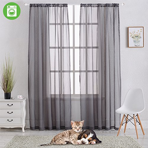 Rod Pocket Sheer Curtains Window Voile Treatment Panels for Bedroom/Living Room Drapes Semi Transparent Poly Linen Textured Elegance Curtains Set of 2 Panels (54'' W x 63'' L, Grey) by SHIELD CREATOR