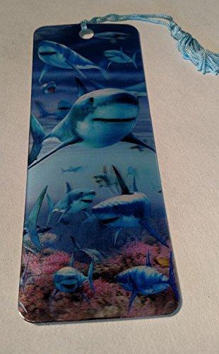- Advanced 3 D Lenticular Bookmark with Tassel (Sharks)
