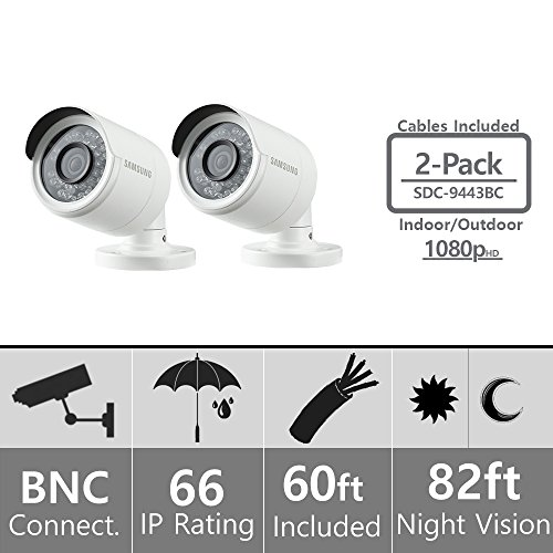 Set of 2 Samsung SDC-9443BC 1080p HD Weatherproof Bullet Camera Compatible with SDH-B74041 SDH-B74081