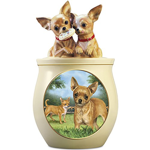 - Linda Picken Chihuahua Art Ceramic Cookie Jar With Sculpted Chihuahuas On Lid by The Bradford Exchange