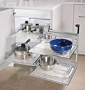 Cabinet Pull Out Organizer Magic Corner II By Hafele For Blind Corner  Cabinets (Silver Swings