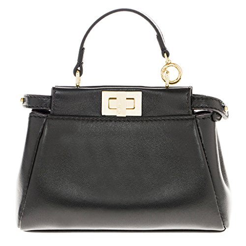 Fendi-Womens-Peekaboo-Micro-Satchel-Bag-Black-Gold