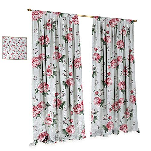 Anniutwo Shabby Chic Waterproof Window Curtain Romantic Spring Summer Flowers Garden Roses with Leaves Artwork Blackout Draperies for Bedroom W120 x L108 Almond Green Pale Pink