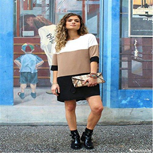Donna Casuale Accogliente Chiffon Yuncai Per Moda Taglia Tricolore Splicing Nero Abiti Larga nxRq1XH86w