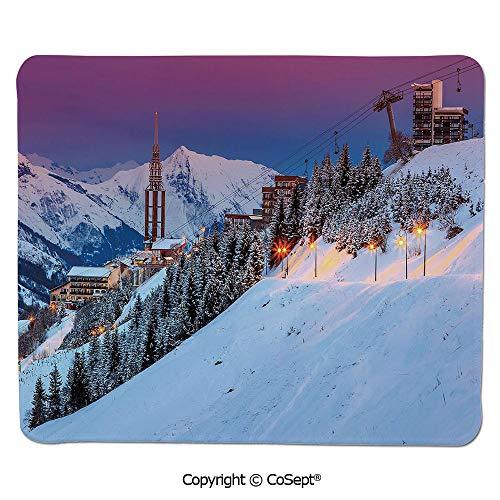 Mouse Pad,Majestic Winter Sunrise Landscape and Ski Resort Spruce Pine Forest French Alps,for Computer,Laptop,Home,Office & Travel(11.81