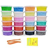 Simuer Fluffy Slime Kit, 24 Pack Soft Snow Mud Plasticine Clay Fluffy Floam Slime Stress Relief No Borax Kids Toy DIY Gift 24 Colors
