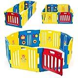 Kidzone© Baby Playpen Kids 8 Panel Safety Play Center Yard Home Indoor Outdoor Pen (Blue)