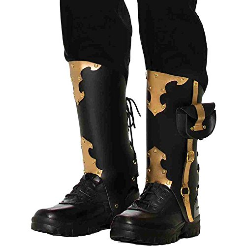 Forum Novelties Men's Deluxe Pirate Boot Tops, Black/Gold, Standard