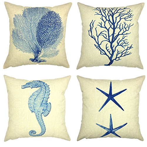 Starfish Linen (YOUR SMILE Ocean Starfish Square Cotton Linen Decorative Throw Pillow Case Cushion Cover Pillowcase for Sofa 18 x 18 Inch , Set of 4)