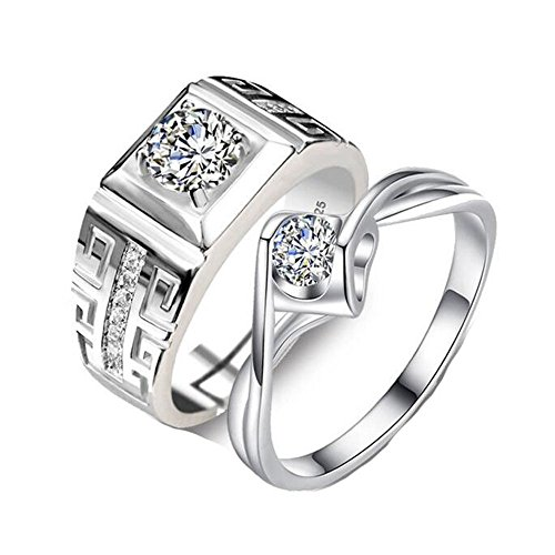 ALBEST Jewellery Adjustable Domineering Diamond Silver Plated Copper Wedding Rings for Couple by ALBEST