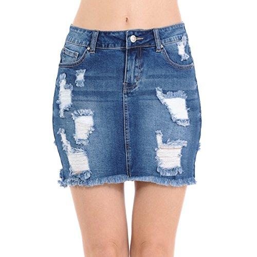 NioBe Clothing Wax Women's Denim Frayed Destruction Distressed Hem Skirt (Medium, Medium Denim) (Mini Skirt Frayed)