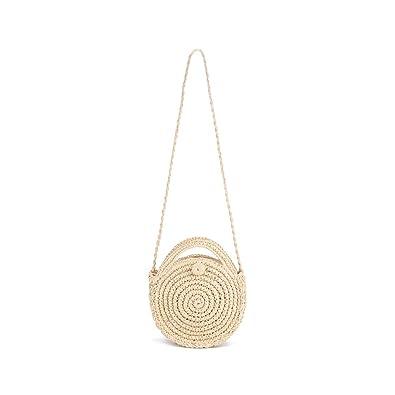 Women's Bags Fashion Vintage Women Handmade Woven Beach Circle Bohemia Handbag Ladies Solid Color Holiday Zipper Shoulder Bag