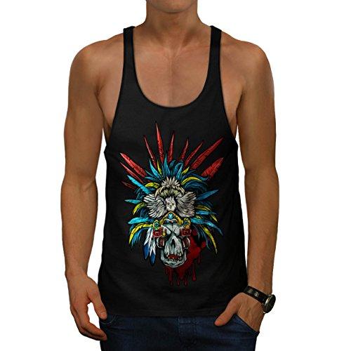 [Skull Indian Warrior Costume Men M Gym Tank Top | Wellcoda] (Mayan Warrior Costumes)