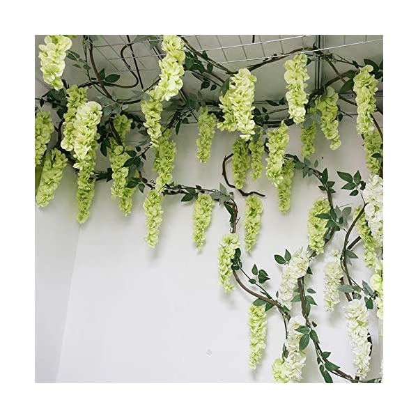 HOMDECO 5.6 Feet/pcs Artificial Silk Wisteria Vine Rattan Silk Hanging Flower Garland Ivy Plants for Outdoor Wedding Party Home Garden Wall Decoration,Pack of 4 (Milk White)